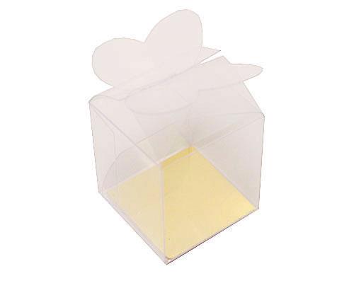 PVC boite 1 choc fermeture papillon avec carton doré pour mettre au fond