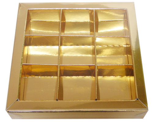 Windowbox 100x100x19mm 9 division goldshine