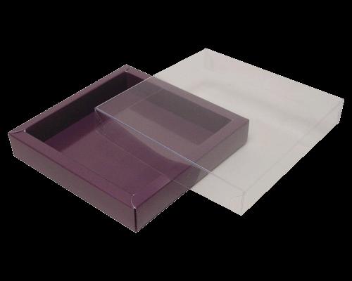 Boîte chocolat carré/rectangulier couvercle transparant