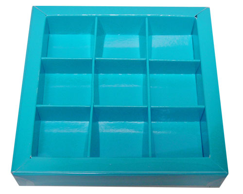 Windowbox 100x100x19mm 9 division lagune laqué