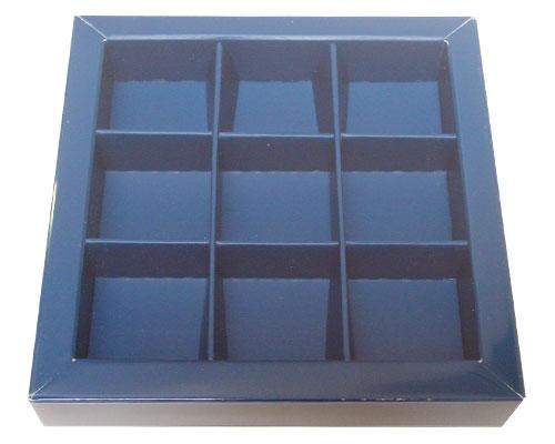 Windowbox 100x100x19mm 9 division blueberry blue