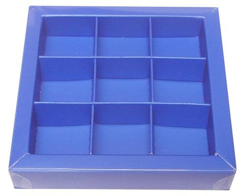 Windowbox 100x100x19mm 9 division ocean blue